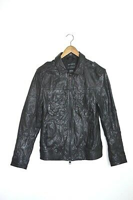 **AWESOME SAUCE** AllSaints Mens SHIFT Leather Bomber Jacket MEDIUM