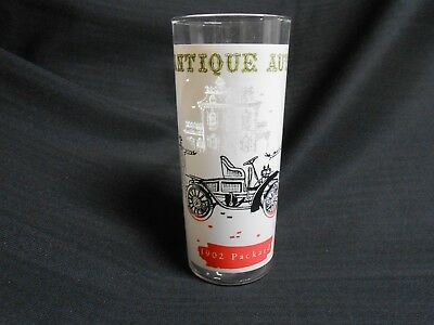 Mid Century Anchor Hocking Tumbler Glass Antique Autos 1902 Packard 16 oz