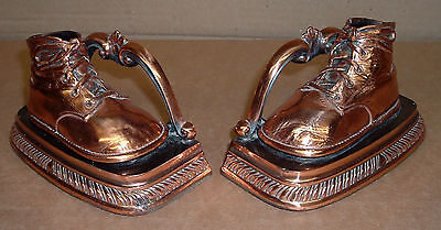 SOLID BRASS BABY SHOE BOOK ENDS Old 1900's Vintage Excellent Bookends