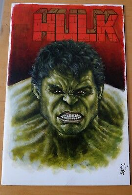 Rare Hulk Comic Book Size Cover Sketch By Potratz and Hai In Excellent Condition