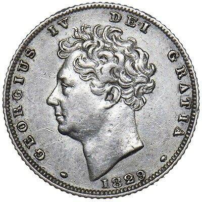 1829 Sixpence - George Iv British Silver Coin - V Nice