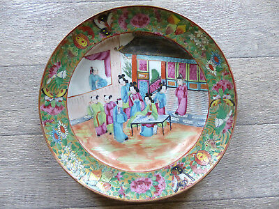 "SUPERB LARGE ANTIQUE 19th CENT. CHINESE CANTON PORCELAIN SOUP PLATE 9 3/4"" (10)"