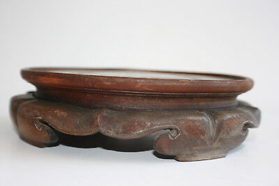 Old Chinese Wooden Hand Carved Round Stand