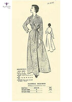 Vintage 1940's Sewing Pattern Wrap Housecoat Robe Dressing Gown Bust 36