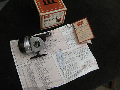 Rare Vintage Sears Ted Williams Iii Spin Casting Reel With Box And Paperwork