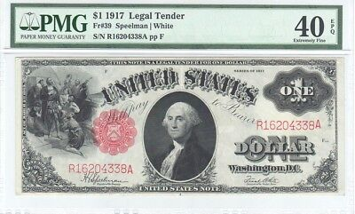 $1 1917, LEGAL TENDER,  RED SEAL,  PMG 40 EPQ, Extremely Fine