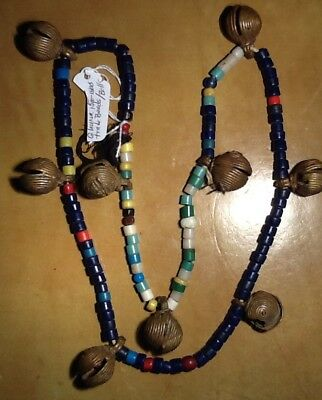 Antique 9 bronze BELLS and Glass TRADE BEADS 1600-1800s found in GHANA