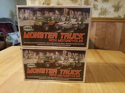 2 Brand New 2007 Hess Monster Truck With Motorcycles W/ Original Boxes