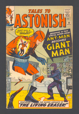 """TALES TO ASTONISH #49 """"1963"""". ANT-MAN becomes GIANT-MAN! Artwork by Jack Kirby."""