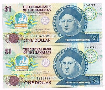 LOT OF TWO 1992 BAHAMAS ONE DOLLAR COMMEMORATIVE NOTES IN SEQUENCE - p50a