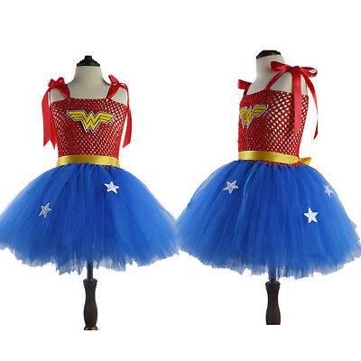 Kids Girls Princess Dress Wonder Woman Costume Party Outfit Cosplay Dresses 2-9Y