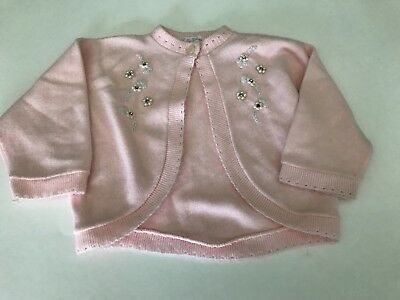 Vintage FAY KNITWEAR Pink Baby SWEATER Cardigan Pearl Embellished Toddler 1950s