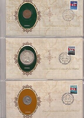 3x GREAT HISTORIC COINS OF THE WORLD historische Münzen NUMISBRIEF Canada Kanada