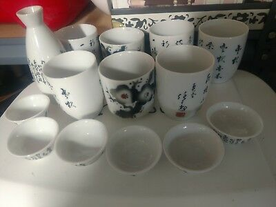 Vintage Ceramic Japanese Sake set and tea cups