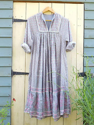 Vtg Indian cotton gauze dress grey hippy Boho s 8 10 usa 6 4 smock folk spell