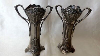 A Lovely Pair Of  Art Nouveau , Wmf , Electroplated , Bud Vases .