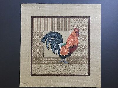 JP Designs Hand-painted Needlepoint Canvas Red Orange & Green Rooster