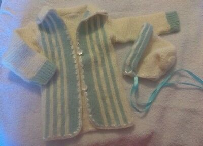 Vintage Baby Boy (Blue & White) Handmade Knit Sweater Set Clothes /  Doll