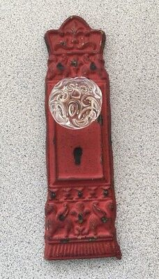 Cast Iron Door Plate With Glass/Acrylic Knob Antique Rustiic Red With Keyhole