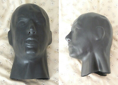 male ENCLOSURE THICK LATEX fitted HOOD rear zip INTERNAL MOUTH NOSE TUBES mask