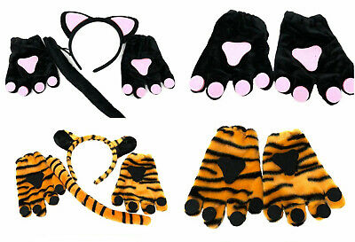 3 Piece Animal Dress Up Tail Ears Gloves Paws Leopard Cat Tiger Halloween Party