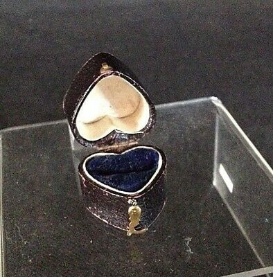 Antique Unamed Heart Shaped Black Faux Leather Ring Box With Brass Hook Fastener