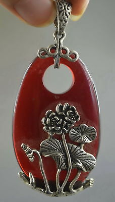 Collectable Handwork Old Miao Silver Carve Lotus Inlay Agate Lucky Noble Pendant