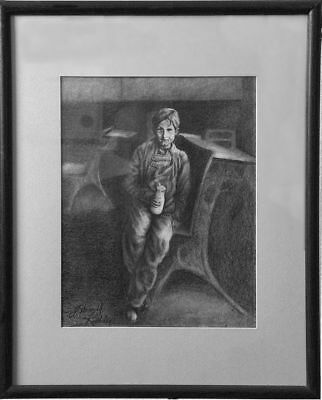 """SCHOOL BOY WITH BOTTLE OF MILK""  21.25"" x 17.25""  Original Drawing - Framed"