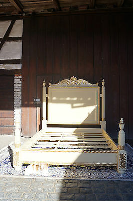 Hand carved King or Queen Bed of solid wood with gold leafs decors from a castle