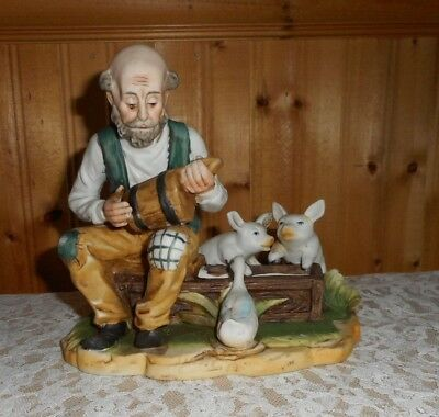 Large Figurine With A Old Mad And Duck And 2 Pigs Ceramic