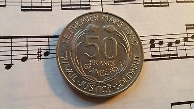 GUINEA 50 Francs 1969 KM8 Cu-Ni Not released, most melted HIGH GRADE - VERY RARE