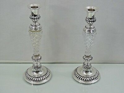 GORGEOUS ANTIQUE SILVER / CUT CRYSTAL PAIR CANDLESTICKS FINE QUALITY sterling
