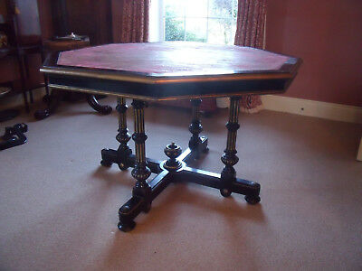 Aesthetic Arts And Crafts Ebonised Gilded Centre Hall Dining Table  Victorian