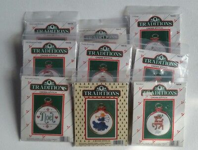 9 Traditions Mini Counted Cross Stitch Kits Christmas Ornaments w/ Frames NEW