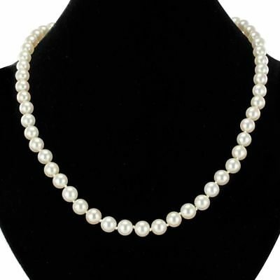 Necklace cultured pearls choker 18K Yellow Gold Vintage Modern Classic Neckla