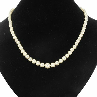 Necklace antique cultured pearls in fall 18K White Gold Modern Art deco Classic