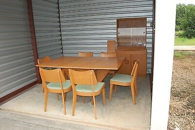 Mid-Century Heywood Wakefield Dining Set Table 6 Chairs Hutch Champagne