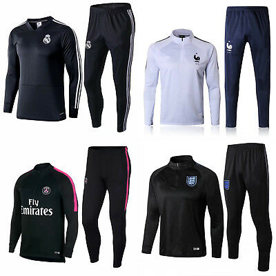 New Adult Mens Football Tracksuit Soccer Sportwear Training Suit Tops & Bottoms