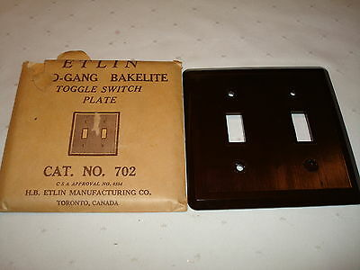 Vintage Etlin Bakelite 2 Gang Brown Ribbed Toggle Wall Plate Nos 702