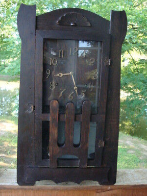 Antique Arts and Crafts Mission Mantel Clock Estate Find Nice Condition key pend