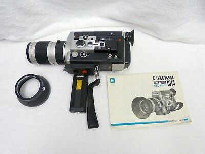 Canon 1014E Super 8 camera with 7-70 mm zoom lens, partially working, sold as is