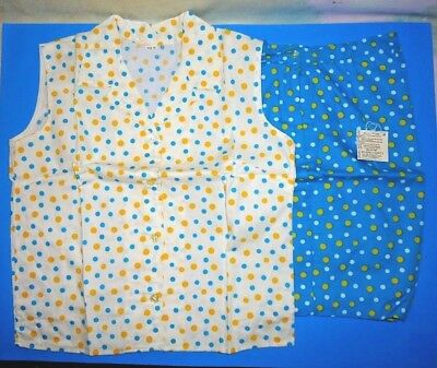 TRUE Vintage 60s Shorts & Blouse 2pc Set Turquoise Yellow White Polka Dots Sz 12