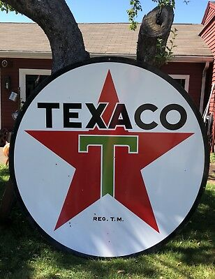 EXCELLENT 6ft 1958 Texaco Gas Oil DSP Porcelain Sign LOOK Delivery to shows!!!