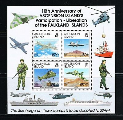 Ascension stamps - MNH souvenir sheet for Falkland War participation