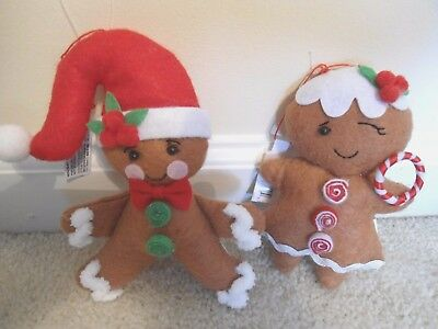 Gingerbread Couple Christmas Ornaments;Set of 2.Great for XMAS Tree.NEW for 2017