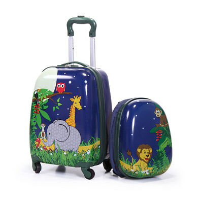 "2Pc  Kids Carry On Luggage Set Hard Upright Side Hard Shell  Suitcase12"" 16"""