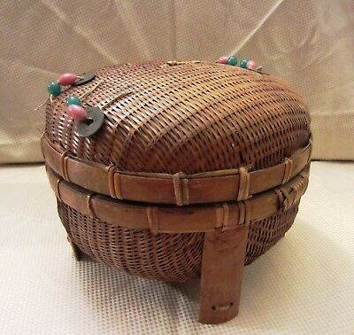 Extra Large Vintage Chinese Sewing Basket with Original Ties, Beads & Coins