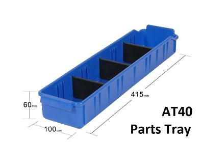 AT40 Pack of 24 VISIPLAS Parts Trays 415x100x60mm incl. 3 Dividers