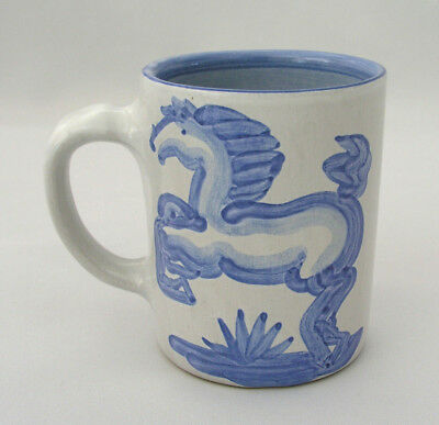 M. A. Hadley Pottery Mug - Blue Horse / Kentucky - Whoa! On Inside - Signed