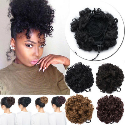 Natural Hair Afro Bun Ponytail Clip Kinky Curl Puff Drawstring Hair Extension US